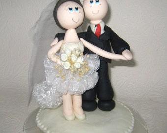 Wedding cake topper, bald groom