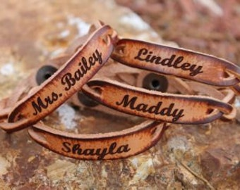 Personalized Braided Leather Bracelet (ONE BRACELET)-Free Engraving! Say what you Want!