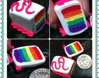 Polymer Clay Rainbow Cake Charm and Slice