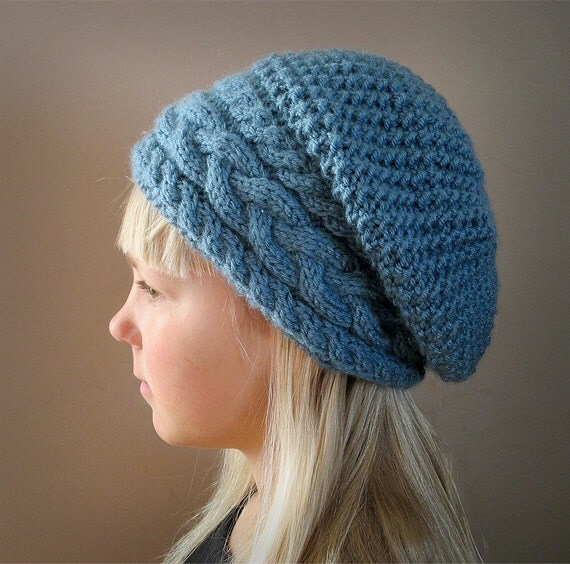 Slouch Hat Knitting Patterns : KNITTING PATTERN PDF Slouch Hat Adult by KnotEnufKnitting