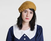 French Beret Knit Hat in Gold