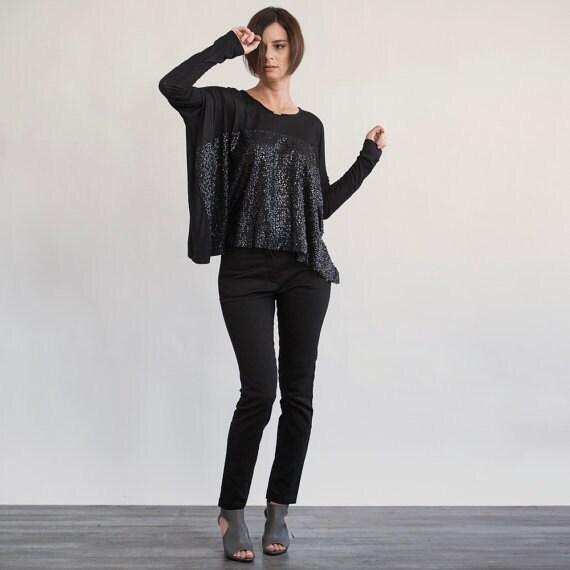 Black Sequin Tops Blouses Sale 40 Off Black Sequin Top