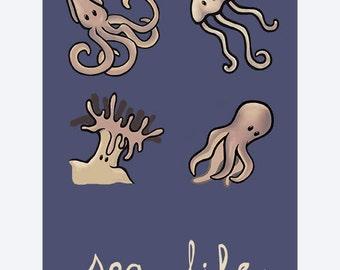"Sea Animals Print - 8""X11.5"" Digital Art Print - Sea Life"