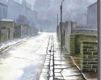Dusk / Evocative Watercolor by Contemporary British Artist-Painter Stuart Hirst / Signed Giclée Print of Superb Watercolor Landscape