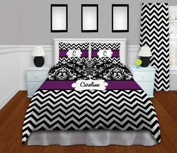 Chevron Comforter Black & White Chevron Bedding Purple