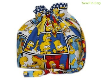 Knitting Bag | Project Bag | Drawstring Pouch | Sock Bag | Sock Knitting Project Bag | The Simpsons Bag