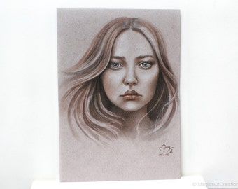 Original charcoal portrait drawing, fantasy girl portrait. Original drawing, NOT a print! Great as gift or home decor after being framed