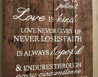 Wedding Anniversary Pallet Sign - 1 Corinthians 13 Typography