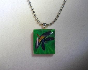 Scrabble Tile Necklace, Scrabble Pendant, Scrabble Tile Dragonfly, Dragonfly Scrabble Tile, Scrabble Tile with Chain, Dragonfly Scrabble