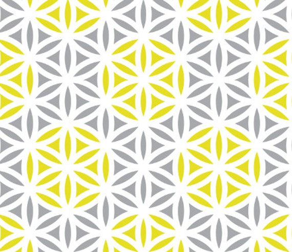 items similar to yellow gray fabric flower of life pattern on etsy. Black Bedroom Furniture Sets. Home Design Ideas