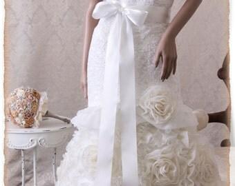 OFF WHITE Bridal Sash, Wedding Sash, Bridal Belt, Off White Bridal Sash, Satin Ribbon Sash