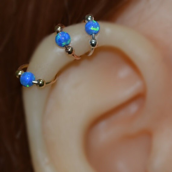 Nose Ring - Gold Nose Hoop - 3mm Opal Helix Earring - Rook Piercing Jewelry - Septum Ring - Tragus Hoop - Cartilage Piercing - 20g