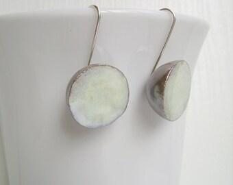 Ceramic earrings pearly white, sterling silver wire, dangle earrings, geometric earrings