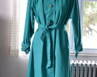Sz M L Women's Green Trench Coat Fleet Street 7/8 Length Rain Coat Bright Green Single Breasted Big Lucite Buttons Fixed Lining Size 10 12