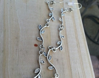 Earrings - Silver Etched Super Long Vines