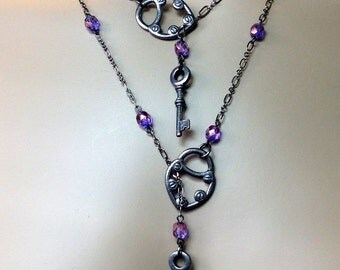 Lariat Necklace Heart Lock and Skeleton Key Gunmetal and Purple