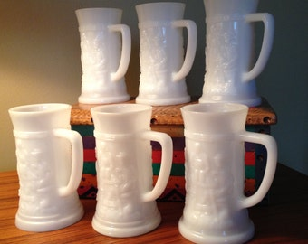 Vintage milk glass beer steins with tavern scenes - set of six