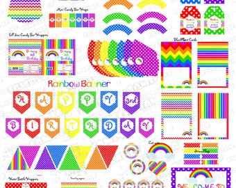 Rainbow party printable Huge birthday printable party supplies  UPrint customized card by greenmelonstudios