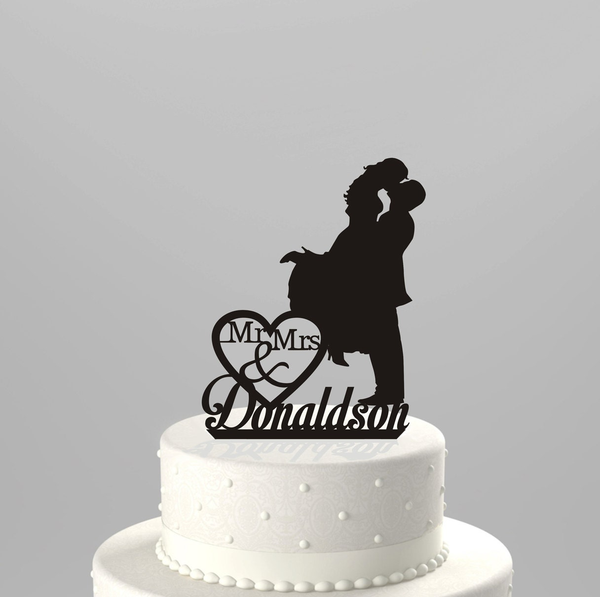 Wedding cake ornaments - Wedding Cake Topper Silhouette Couple Mr Mrs Personalized With Last Name Acrylic Cake Topper