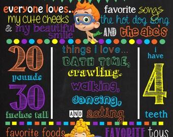 Bubble Guppies Birthday Chalkboard Poster Invitation DIGITAL FILE