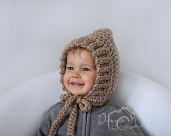 Download crochet pattern #022 - Chunky ribbed pixie bonnet - Toddler, child, adult sizes - pdf tutorial