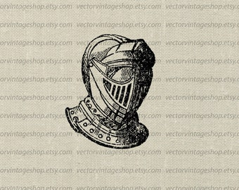 Knights Helmet Vector Graphic Instant Download Clipart, Barred Helmet Antique Armor Soldier, Victorian Illustration WEB1723DG