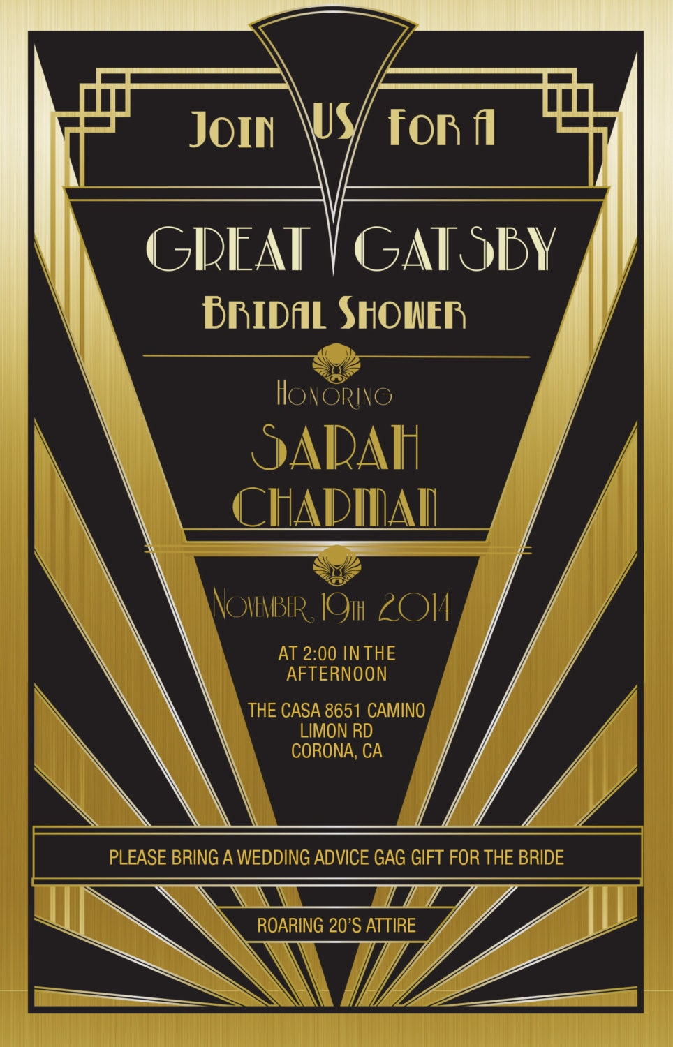 It is a picture of Sizzling Gatsby Party Invitations