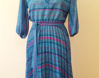 Perfect Teal & Pink Striped Medium Size US8/10 Pleated Dress: Signor California