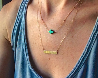 Dainty Turquoise Horizontal Cross Necklace, Sideways Crosss Necklace // Satellite Chain