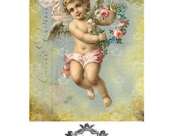 Valentine Cherub, French, cherub, romantic, flowers, wings, Wickedly Lovely, Blank art greeting card