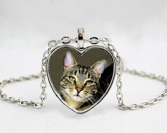 Grey Tabby Cat Pendant // Cat Photo Pendant // Cat Art Pendant // Pendant Necklace or Key Chain
