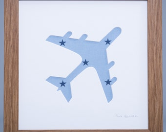 Airplane Picture | Boy's Picture | Plane Picture| Blue Fabric Picture
