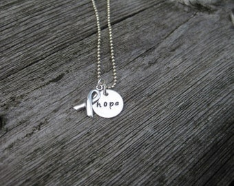 HOPE Awareness Ribbon Necklace Sterling Silver Hand Stamped Personalized Jewelry Breast Cancer Awareness Ribbon Jewelry Awareness Necklace