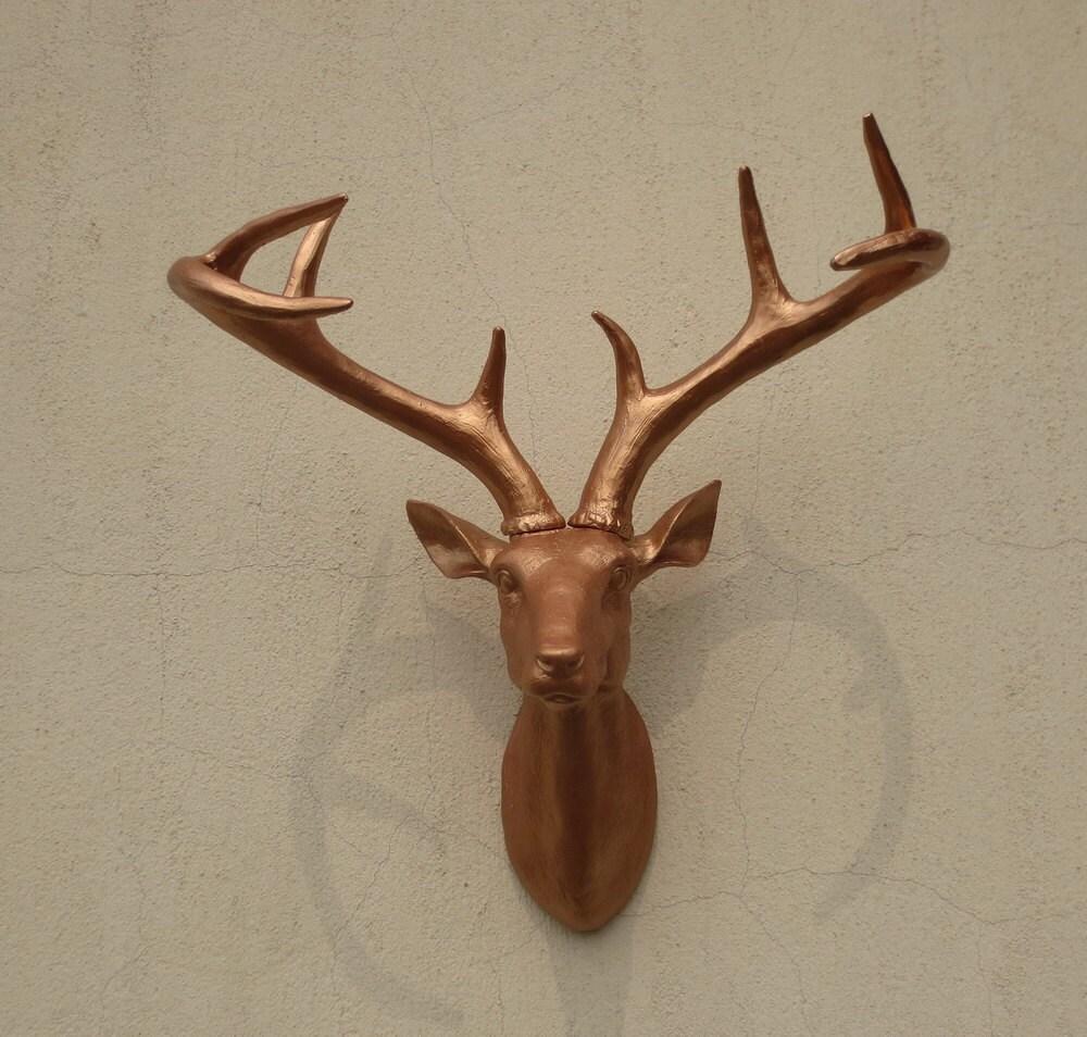 Bronze Deer Head Wall Decor Deer Head Wall By Fauxtaxidermyart