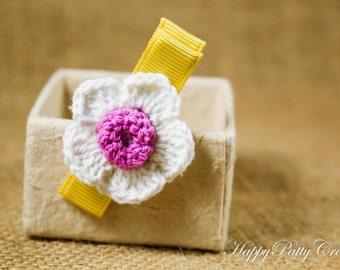 Purple Flower Hair Clip - Crochet Flower Hair Accessory - Alligator Clip - Girl Hair Clip - Toddler Hair Clip - HC078