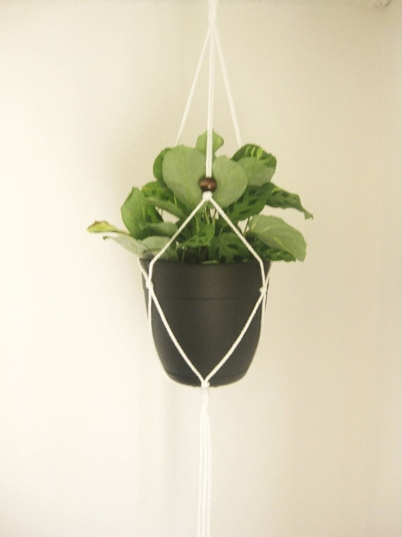 MACRAME HANGER Dark Wood Beads // More Colors / White by ...