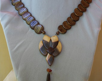 Wooden necklace with amber
