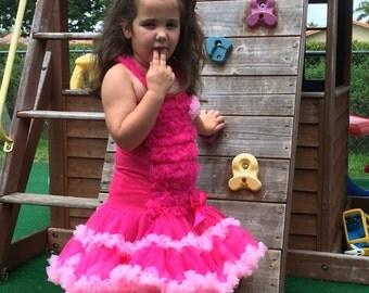 Baby Girl Hot Pink Petti Dress - Hot Pink Pettiskirt Dress - Ready to Ship.