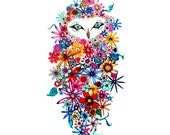 Floral Owl art print  - No. 50 - Flowers Floral Archival Owl Print in Bright Colors 5x7 red blue yellow pink colorful rainbow summer spring