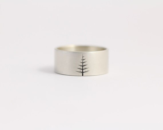 Wedding Band Oregon Pine in Sterling Silver Mens Wedding Ring Woodland Wedding 10mm