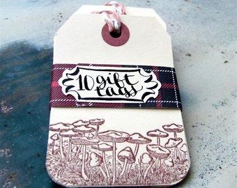 Mushroom Hang Tags, Package of 10 Hand Stamped Gift Tags, Woodland Scene Gift Wrapping, Nature Inspired, Holiday Packaging