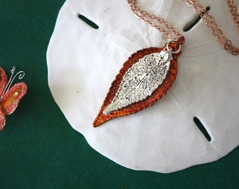 Double Leaf Necklace, Double Real Evergreen Leaves, Leaves, Real Leaf, Silver Leaf, Copper Leaf 8 DL
