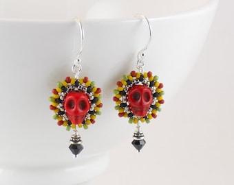 Beaded Small Calavera Earrings/ Red Skulls / Mustard Yellow, Green, Black & Silver/ Festive/ Light- - - Yatzil