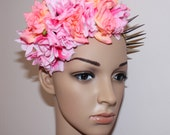 NEON pink apricot coloured roses floral crown head piece spikes STATEMENT piece headband LOLITA geisha