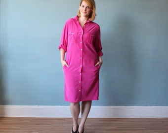 plus size dress | hot pink shirt dress |  1980s xl
