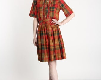 ON SALE Plaid 2pc Top & Skirt in Reds
