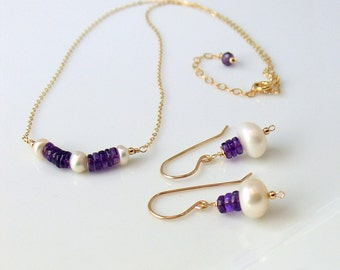 Amethyst and Pearl Bar Necklace and Earrings Set, Feminine Pearl and Gem Jewelry Set, Purple and White, Stacked Stones, Minimal and Dainty