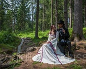 "Renaissance Gown, Medieval Wedding Dress, Handfasting Dress, Elvish Gown, Pagan, Pre-Raphaelite Dress, ""Mara"""