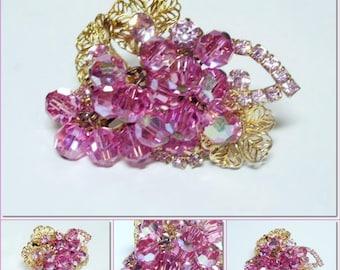 Vintage Crystal Auroa Borealis Raspberry Pink Crystal Bead & Rhinestone Brooch  NICE QUALITY
