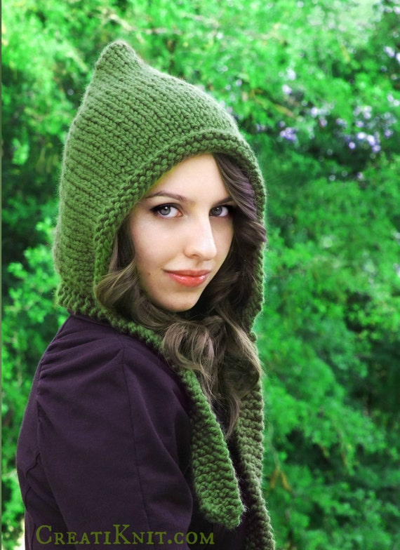 Knitting Pixie Hat Free Pattern : Knitting Pattern Pixie Hat Pixie Hood Pattern